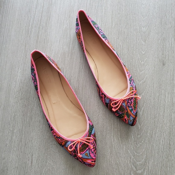 J. Crew Shoes - J. Crew Bright Pink Multi Gemma in Paisley Flats